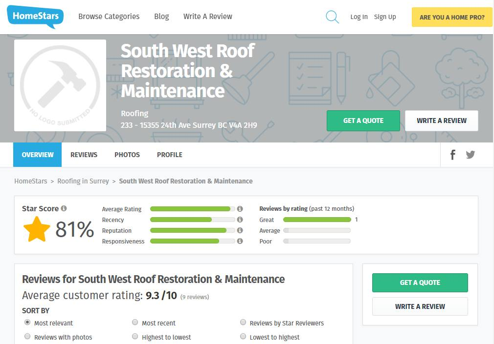 HomeStars.com Reviews for South West Restoration & Maintenance