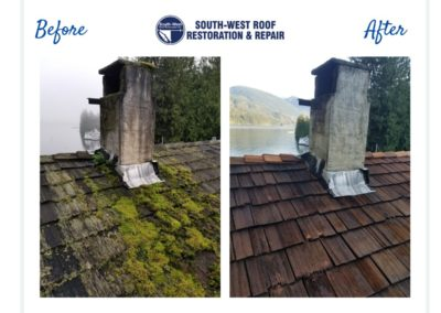 Cedar roof cleaning and treatment in Egmont, Sunshine Coast, British Columbia