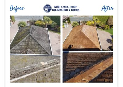Cedar roof restoration at Tioga Residence, Tsawwassen, BC