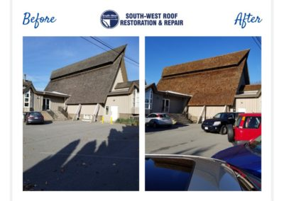 Restored Cedar Roof of 35 year old church at Oak St & W 49th Ave, Vancouver BC.