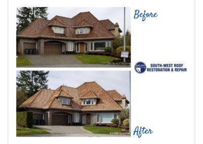 Cedar roof cleaning and treatment in South Surrey, British Columbia