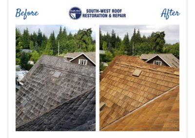 Cedar roof cleaning and treatment in Sunshine Coast, British Columbia