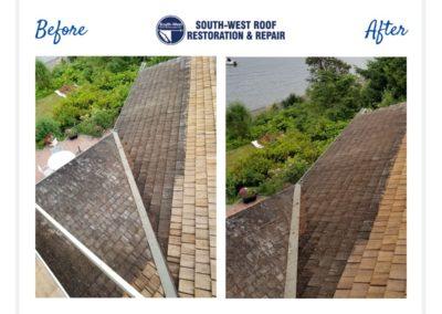 Cedar roof restoration at Bowen Island, British Columbia